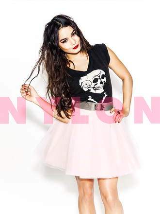 t-shirt vanessa hudgens nylon skull t-shirt short skirt