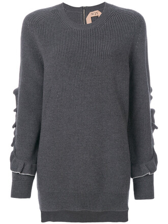 jumper ruffle women wool grey sweater