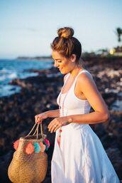 bag,summer dress,basket bag,beach bag,pompom basket bag,pompom bag,pom poms,white dress,white summer dress