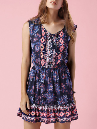 dress dressfo tribal pattern boho boho chic trendy casual slanelle sleeveless summer dress blue dress