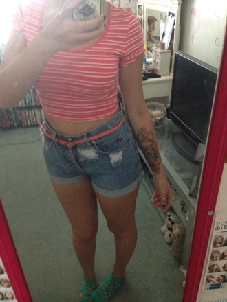 blouse coral summer high waisted shorts summer outfits crop too hipster stripes distressed denim shorts belt shorts