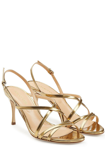 Sergio Rossi heel mid heel sandals sandals leather gold shoes