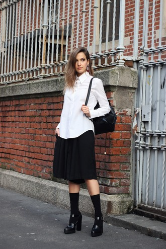 fashion quite blogger socks shoes white shirt black skirt back to school black shoes