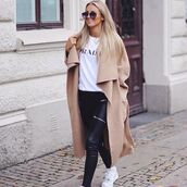 beige,nude,oversized,fall outfits,jacket,winter coat,cozy,sexy sweater,t-shirt,coat,leggings,long,trendy,girly,hipster,elegant outfit,sunglasses,brand,long nude coat,tan coat