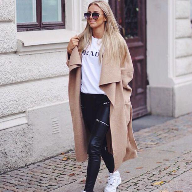 beige oversized fall outfits jacket winter coat winter coat cozy t-shirt coat leggings long oversized trendy girly hipster elegant outfit sunglasses brand tan coat