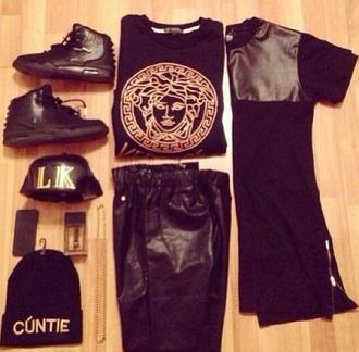 t-shirt shoes belt hat pants bag