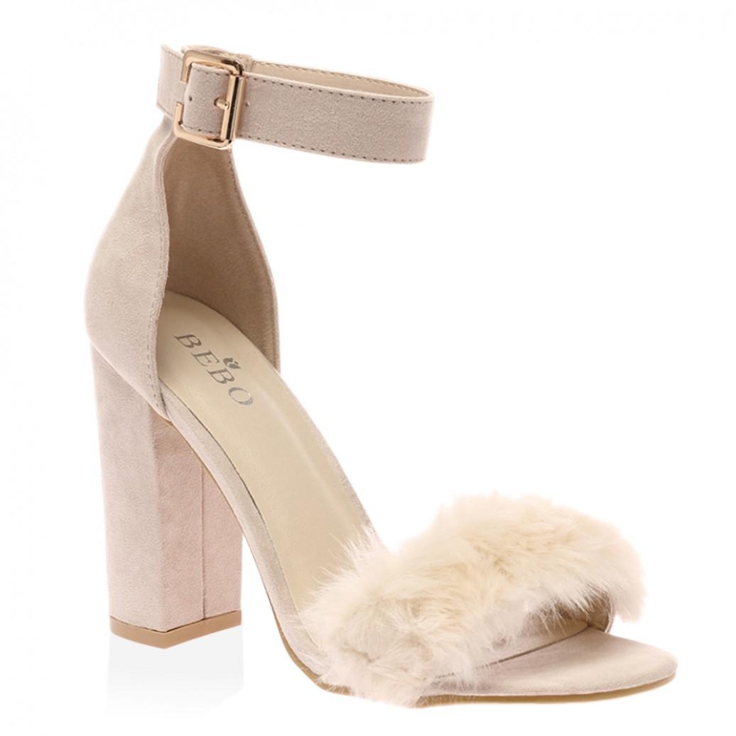 a0751aa74d6d Celine Nude Faux Suede Block Heels