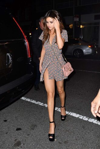 shoes sandals platform sandals selena gomez mini dress wrap dress floral floral dress