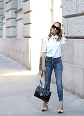 shoes,tumblr,mules,chanel,chanel shoes,denim,jeans,blue jeans,shirt,white shirt,bag,black bag,chanel bag,sunglasses,black sunglasses,chanel mules