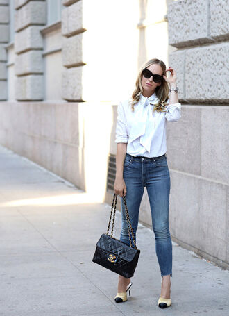 shoes tumblr mules chanel chanel shoes denim jeans blue jeans shirt white shirt bag black bag chanel bag sunglasses black sunglasses chanel mules