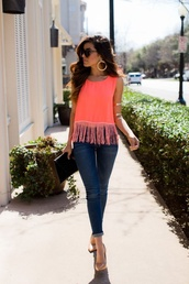 tank top,fringes,jeans,jewels,shirt,blouse,capris,denim,t-shirt,orange,coral,top,fashion,orange dress,sunglasses,neon,tasles,halter neck,vest,tassel top,tassel,summer top,fall outfits,style,spring,hot,pink,bright,colorful,summer