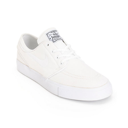 size 40 2ec82 10eab Nike SB Zoom Stefan Janoski All White Canvas Skate Shoes at Zumiez   PDP