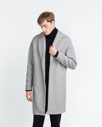 coat overcoat zara mens overcoat grey black bw menswear mens coat aliexpress