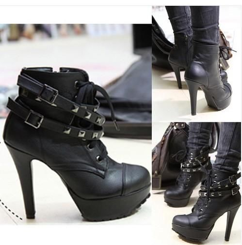 Womens Ladies Faux Leather Lace-Up Buckle studded Shoes High Heel Ankle Boots | eBay