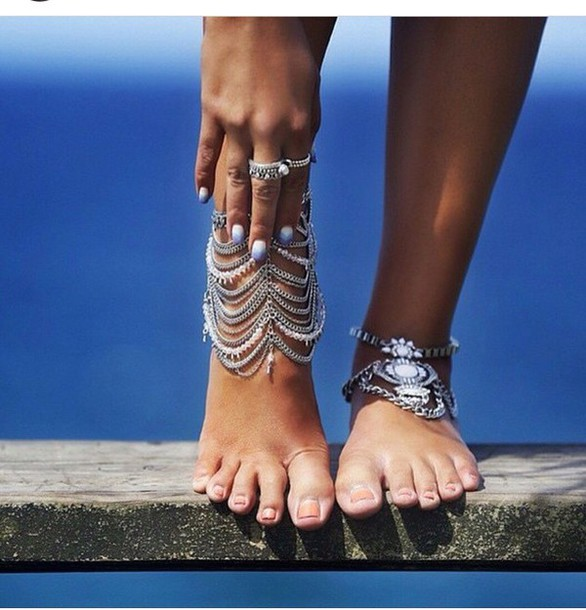 jewels silver bohemian foot jewelry ankle jewelry