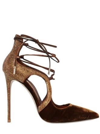 pumps lace velvet light brown shoes