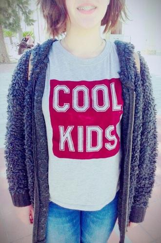 sweater red sweater grey sweater cool kids