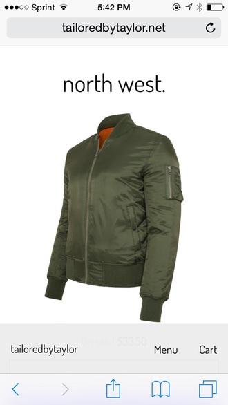 jacket bomber jacket olive green