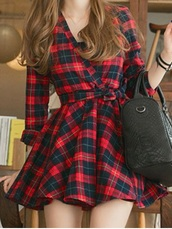 dress,plaid dress,plaid,red and green,flannel,purse,red,green,black,cute,flannel dress,style,plaid pleated dress,black and red flannels dress