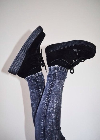 shoes acid wash black boots creepers platform shoes