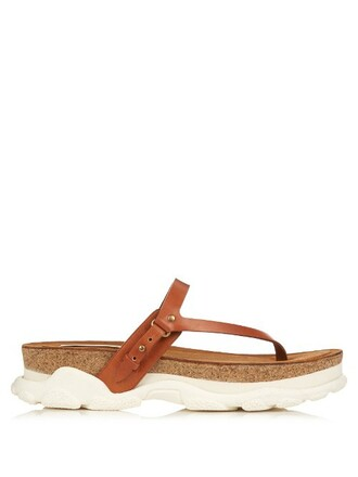 sandals leather tan white shoes
