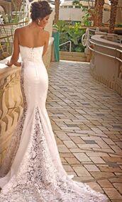 dress,wedding,wedding dress,beautiful,lace wedding dress,clothes,gorgeous dress,gorgeous,strapless,white,mermaid wedding dress,slit,lace