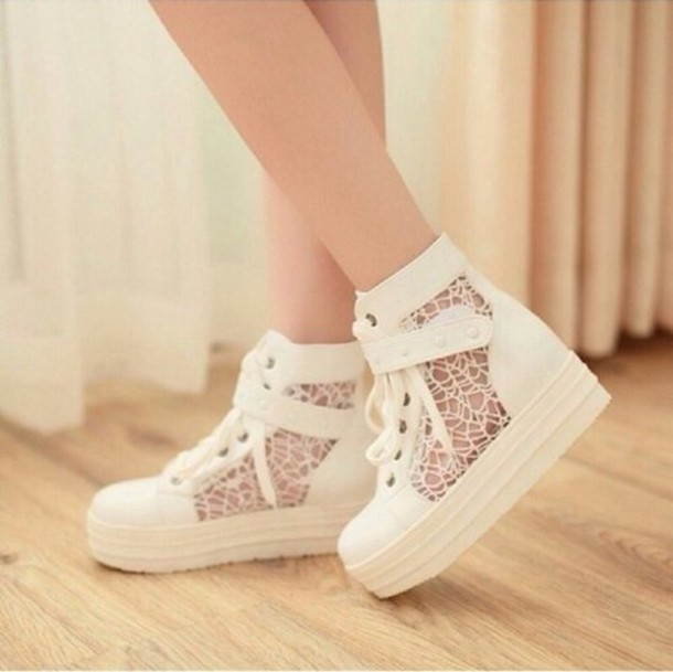 shoes lace shoes white white shoes white lace shoes cute sneakers white sneakers