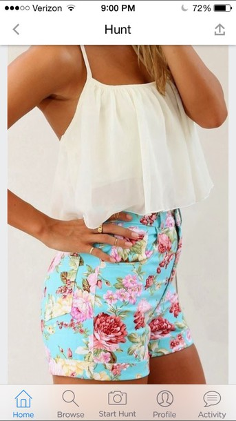 blouse where to get floral shorts and white shirt ?