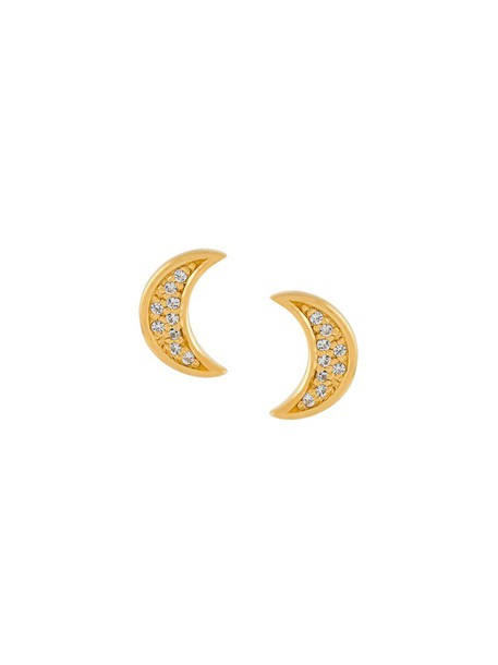Astley Clarke mini women moon earrings stud earrings gold grey metallic jewels