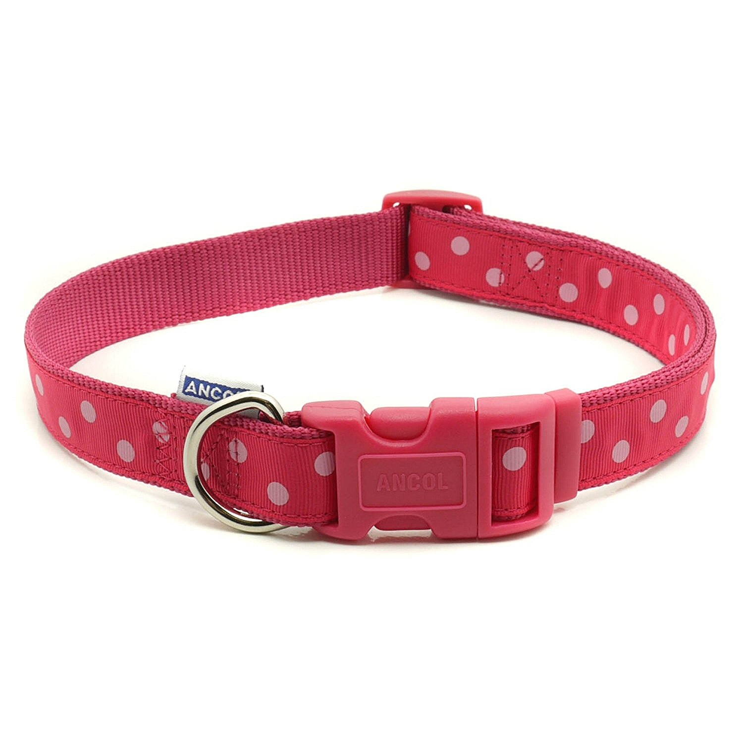 Amazon.com : Ancol Pet Products Indulgence Adjustable Vintage Polka Dot Dog Collar (Size 5-9) (Raspberry/Pink) : Pet Supplies
