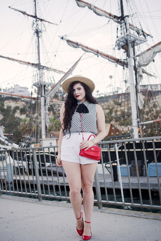 noelles favorite things rosalie eve hat curvy white shorts red bag red shoes flats