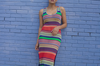 dress midi dress midi knit dress dancehall knitwear knitted dress multicolor multicolor dress rihanna dress