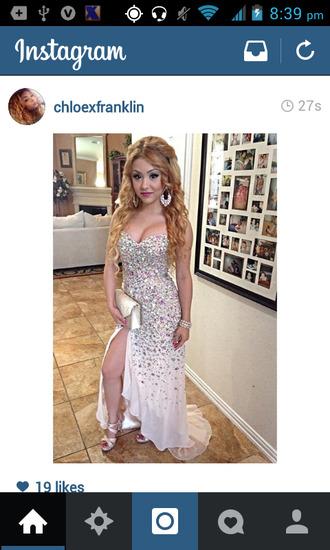 dress bling nude gorgeous beauty longdress long prom sofisticated prom dress prom2014 slit dress slit diamonds swarovski