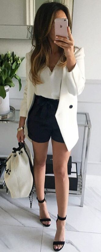 shorts white shirt black shorts white blazer black and white bag black heels blogger