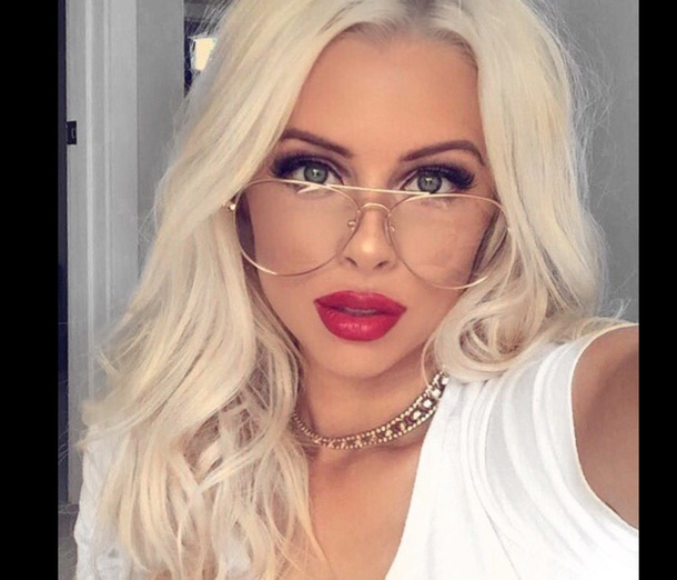 sunglasses clear clear glasses blonde hair red lipstick make-up round sunglasses aviator sunglasses fashion fall outfits fall sweater fall colors fall accessories accessories jewels jewelery jewelry shoes