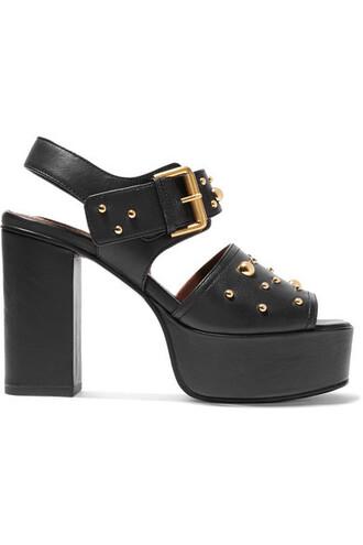 studded sandals platform sandals leather black shoes