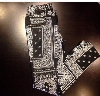 pants bottoms jeans bandana pants bandana print black streetwear