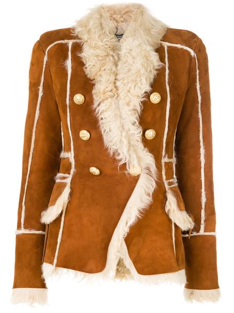 Balmain jacket shearling jacket women embellished brown