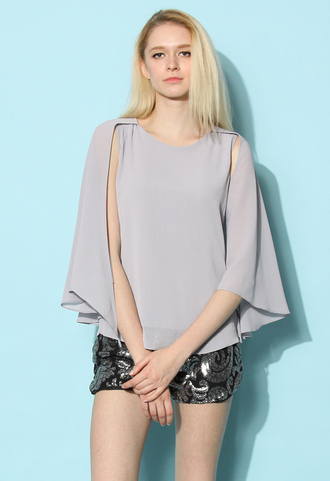 top chicwish bella top flap top cape top smoke top cape summer top spring top chicwish.com batwing spring top