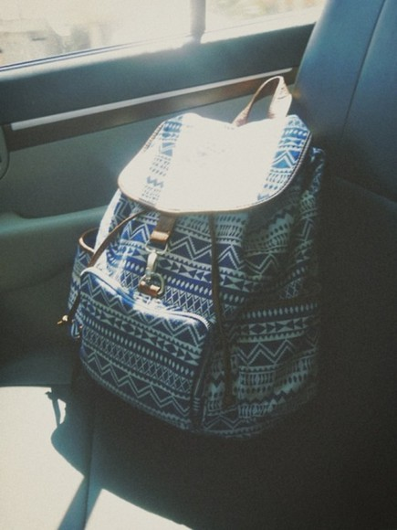 blue and white bag hipster backpack