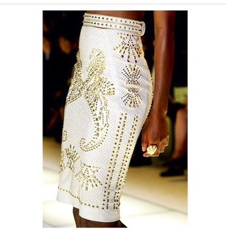 skirt gold fashion gold sequins pencil skirt