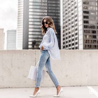 shirt sunglasses tumblr blue shirt denim jeans blue jeans skinny jeans pumps pointed toe pumps high heel pumps white heels bag tote bag shoes