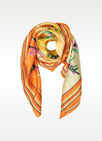 Laura Biagiotti Orange Floral Print Twill Silk Square Scarf at FORZIERI