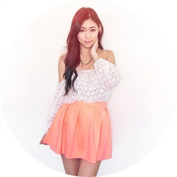 skirt lace shirt baby pink skater skirt