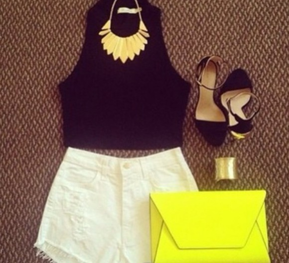 neon jewels shoes shirt yellow bag purse nightlife outfit shorts