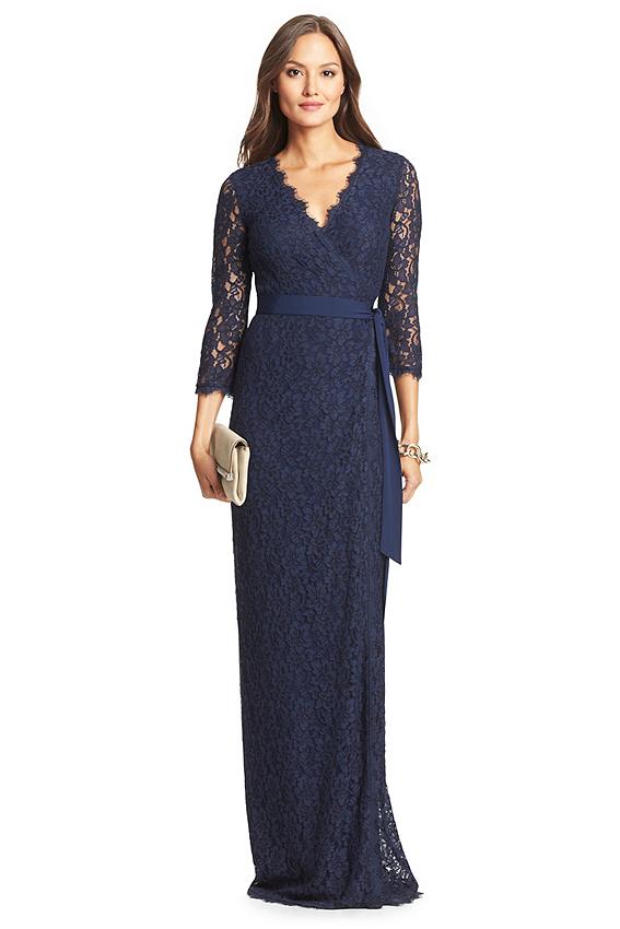 Dvf julianna lace long wrap dress