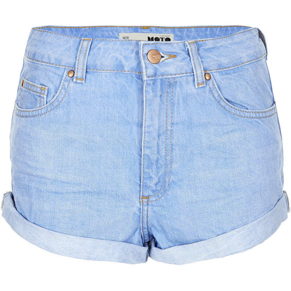 TOPSHOP MOTO Blue High Waisted Hotpants - Polyvore