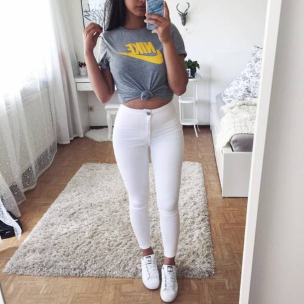 Top Grey Top Nike Nike Crop Top Tumblr Outfit Tumblr Wheretoget