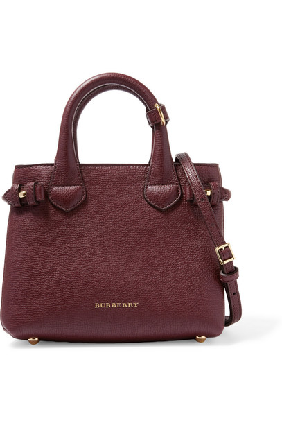 provide plenty of reasonable price latest sale Burberry London London Mini Checked Canvas-Paneled Textured-Leather  Shoulder Bag in burgundy