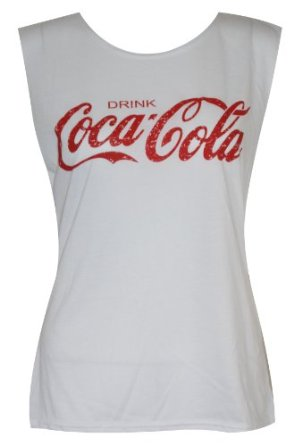 Womens Girls Sleeveless Coca Cola Print Vest Tshirt Tank Top: Amazon.co.uk: Clothing